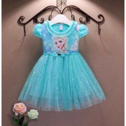 Vestido Elsa Frozen. Color Celeste